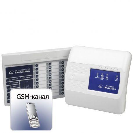Система охранно-пожарной сигнализации радиоканальная с GSM коммуникатором Галактика ЦБ GSM + БИУ-Р2